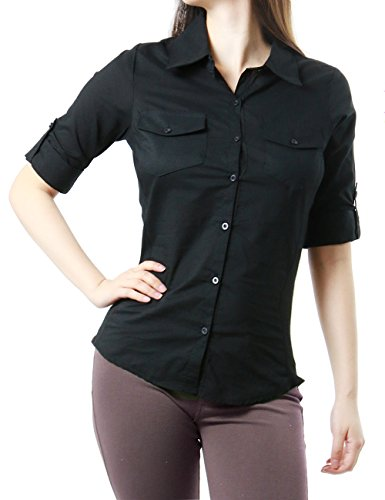 Womens Office to Casual Button Down Shirt with Roll-Up Sleeve (SMALL, BLACK)