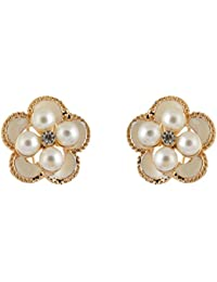 FIREFLIES Pearl White & Gold Metal & Pearl Stud Earrings For Women (ER0326)