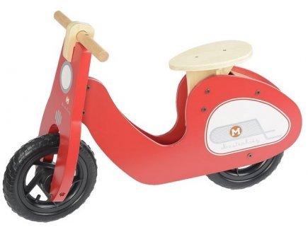 Draisienne scooter rouge en bois - dimensions : 71,5 x 29 x 50 cm (lxlxh) - selle reglable - velo sans pedales