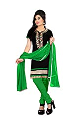 Aastha Creation Green Embroidered Cotton Dress Material