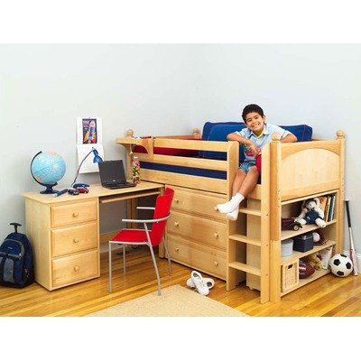 Cheap Maxtrix Kids Box 3L / One One 3L Twin Box Low Rider Bed with Student Desk, Dresser, and Bookcase (Box 3L / One One 3L)