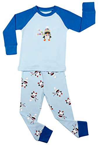"Elowel Boys Blue ""Snowman"" 2 Piece Pajama Set 100% Cotton - 3 Toddler front-1076332"