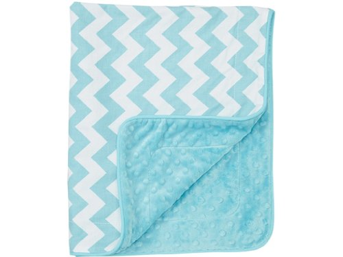 Baby Boy Blanket in Aqua Chevron on Aqua Minky - Great Travel Blanket