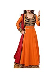 Kimberly Women's Georgette Embroidered Anarkali Embroidered Semi-Stitched Salwar Suit (SRA-05_Orange)