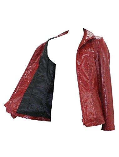57177NC New Bergama Red Black Dot Print Lamb Leather Jacket S