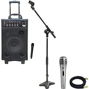 Pyle Speaker, Mic, Cable and Stand Package - PWMA1050 800 Watt VHF Wireless Battery Powered Pa System W/Echo/Ipod/MP3 Input Jack - PDMIK1 Professional Moving Coil Dynamic Handheld Microphone - PMKS7 Compact Base Microphone Stand - PPMCL30 30ft. Symmetric Microphone Cable XLR Female to XLR Male