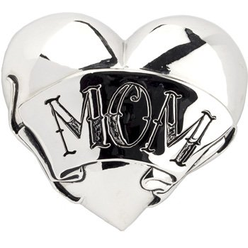 Heart Buckle with infamous Mom Tattoo design. 3.25 Inches w x 2.75 Inches h