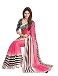 Amayra Fashions Solid, Striped, Self Design Fashion Georgette Sari
