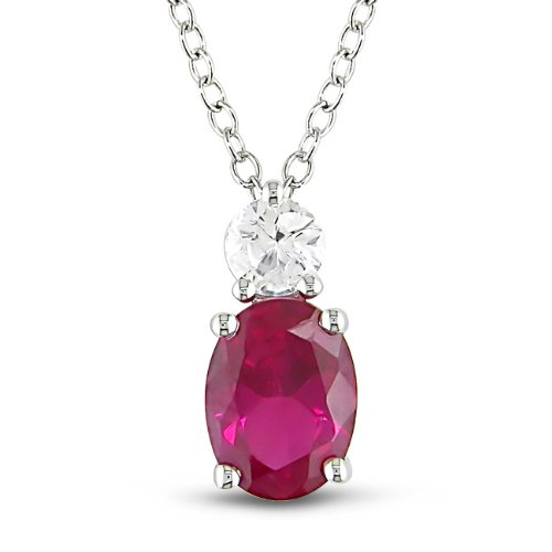 Sterling Silver 2 1/3 CT TGW Created Ruby and Created White Sapphire Fashion Pendant