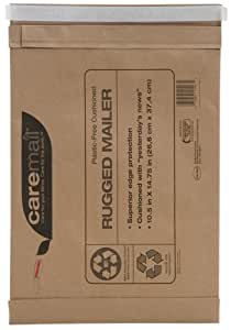 Caremail Recycled Self-Seal Rugged #5 Mailers, Padded, Brown Kraft, 10.5 x 14.75 Inches, 25-Pack (1143554)