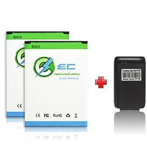 EC TECHNOLOGY® High quality 3500mAh Li-ion Battery For Samsung Galaxy Note II 2, GT-N7100, SCH-I605(verizon), SCH-R950(U.S. Cellular), SGH-I317 (AT&T), SGH-T889 (T-Mobile), SPH-L900 (sprint), Replacement of Samsung EB595675LA Battery + 1 x Multi-purpose USB Travel Charger
