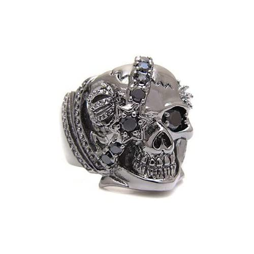 ブラックアクセサリー ブラス・真鍮 ルテニウムコーティング リング・指輪 ブラックジルコニア・人工ダイヤモンド スカル・ドクロ 王冠 bssri0010 【17号】