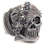ブラックアクセサリー ブラス・真鍮 ルテニウムコーティング リング・指輪 ブラックジルコニア・人工ダイヤモンド スカル・ドクロ 王冠 bssri0010