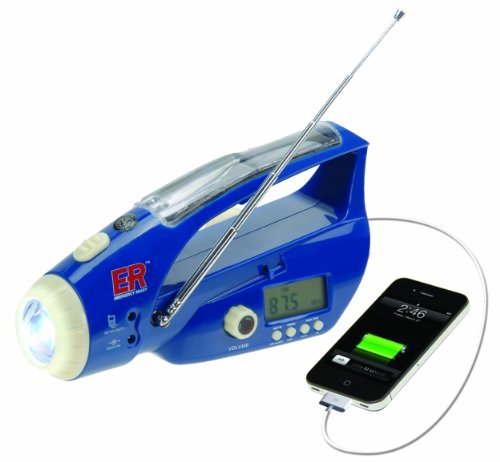 ER Emergency Ready Solar and Hand-Crank Powered LED Flashlight with Weather Band Radio and USB Charging Port