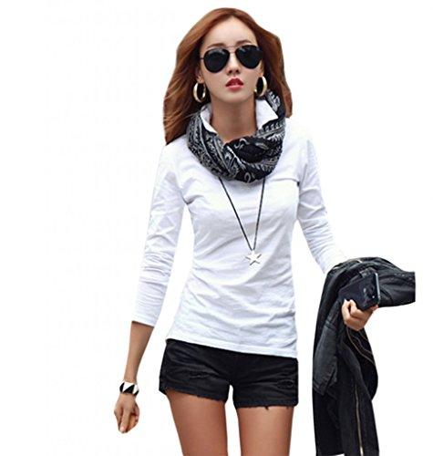 T-shit semplice primavera, da donna, a maniche lunghe e felpe 100% cotone di attività V-col Creative Tops bianco X-Small
