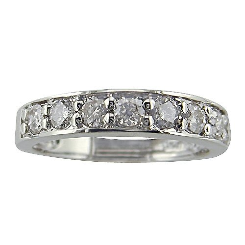 1ct tw Round Diamond Anniversary Ring in 10K White Gold Available Ring Sizes 5 - 9