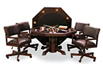 Hot Sale Signature Combination Game Table Set w/ 4 Chairs (Mahogany)