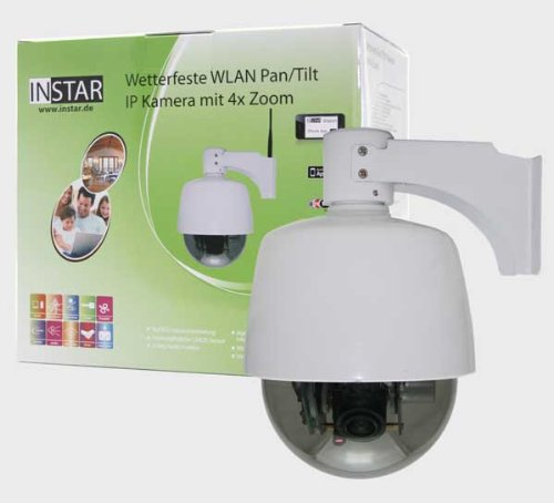 GERMAN BRAND! INSTAR IN-4010 (white) Smallest controlable Pan Tilt WLAN IP Outdoor Camera with 4x optical Zoom and max. 8 preset Positions, build in motor, Microphone and Alarm IO In/Output. For MAC / Windows / Linux / Android and IPhone! NEWEST MODEL FROM INSTAR WITH 5DB ANTENNA!!!!