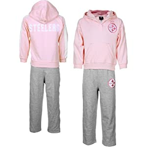 Pittsburgh Steelers Toddler Pink-Ash Hearts Pullover Hoodie & Fleece Pants Set at SteelerMania