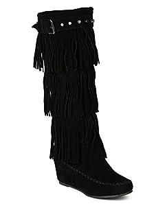 Nature Breeze BD05 Women Suede Fringe Studded Moccasin Knee High Wedge Boot - Black (Size: 10)