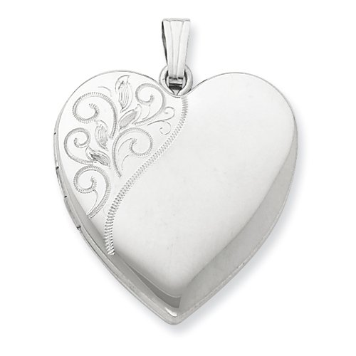 Sterling Silver 24mm Polished Swirl Heart Locket