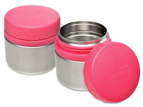 LunchBots Rounds Leak Proof Stainless Steel Food Containers Set of 2, 8 ounce, Pink