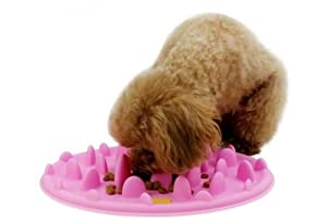 Interactive Pet Feeder Slow Feed Silicone Dog Bowl (Pink)