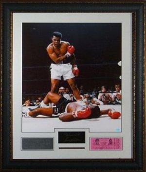 Muhammad Ali unsigned over Sonny Liston – Engraved Signature Collection w/ Ticket – Signed Boxing Tickets