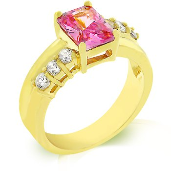 14k Gold Bonded Anniversary Ring with Pink and Clear Cubic Zirconia