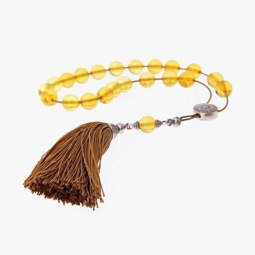Amber Gemstone Handmade Worry Beads (Komboloi) Sterling Silver 925 - Free Shipping WorldWide