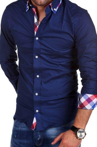 MT Styles BH-303 - Camicia slim fit con dettagli a contrasto - blu scuro - 4XL