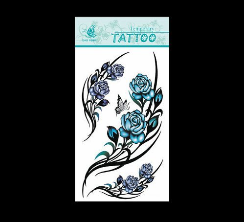 SYZ Beauty Waterproof Temporary Tattoos Blue Flowers Tattoos