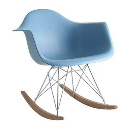 RETRO EAMES INSPIRED RAR LOUNGE ROCKING CHAIR - LIGHT BLUE