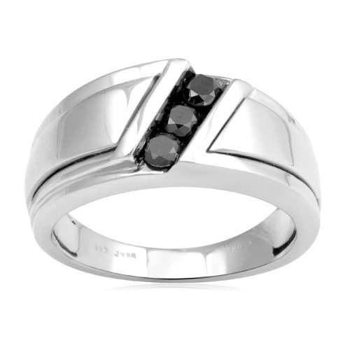 Men's Sterling Silver Black Diamond Ring (1/2 cttw, I-J Color, I3 Clarity), Size 11