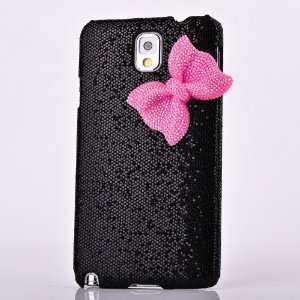 SaveGood Deluxe Sweety Girls Case Cover Decorated Bling Glitter Bow for Samsung Galaxy Note III Note 3 N9000 - Black