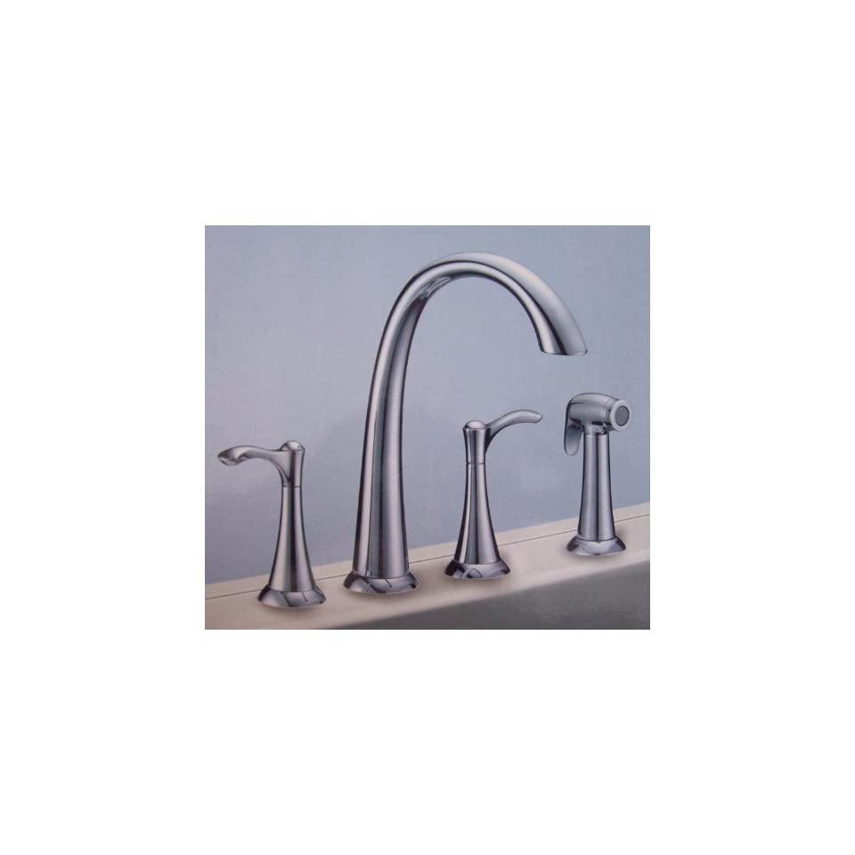 Abigail Chrome 2 Handle Kitchen Faucet with Sprayer 8 to 12 Widespread for 4 Hole Sink