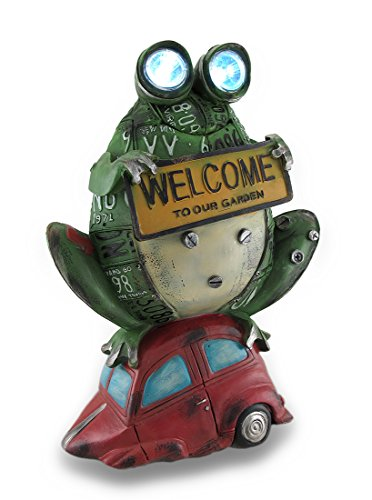 Solar Eyes License Plate Green Frog On Red Car Garden Welcome Statue
