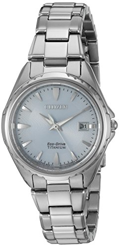 Citizen Women's ' Quartz Titanium Casual Watch, Color:Silver-Toned (Model: EW2410-54L)