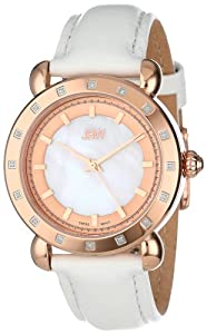 JBW Women's J6265C  16 Diamond Bezel White Genuine Leather Band Watch