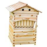 Lang Wooden bee House Honey auto Flow Beehive Box with 7 pcs auto Frame (Full hive) (Color: full hive)