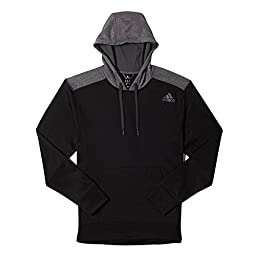 adidas Men\'s Ultimate Fleece Pullover Hoodie Black/DGH Solid Grey LG