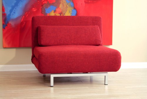 Baxton Studios Romano Convertible Sofa Chair Bed, Red