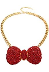"Red Rhinestone Bow Ribbon Charm 16"" Gold Tone Necklace HN1059GDRED"