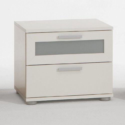 PRAGUE Bedside Table Drawer Cabinet in White (with glass insert) by DMF