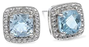Amazon+Curated+Collection Sterling Silver Blue Topaz and Diamond Accent Square Post Earrings