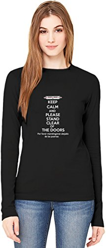 Please Stand Clear Of The Doors T-Shirt da Donna a Maniche Lunghe Long-Sleeve T-shirt For Women| 100% Premium Cotton| DTG Printing| XX-Large