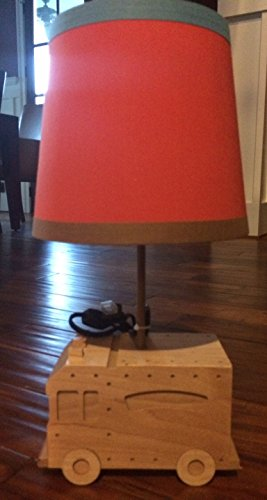 """""""Around Town"""" 18"""" H Wooden Firetruck Table Lamp (Orange-Red/Blue/Brown Shade) front-510846"""