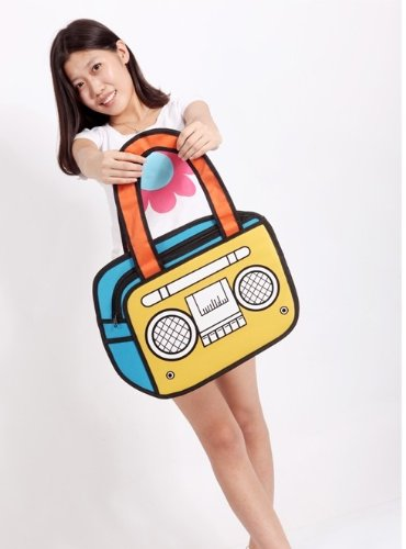 3D Radio Jump Style 2D Drawing Comic Cartoon Bags Radio Design Shoulder Bags Blue+Yellow
