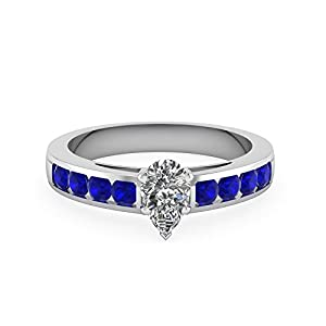 1.15 Ct Pear Shape Modern Engagement Ring For Women With Diamonds & Sapphire GIA (J Color,SI1 Clarity)