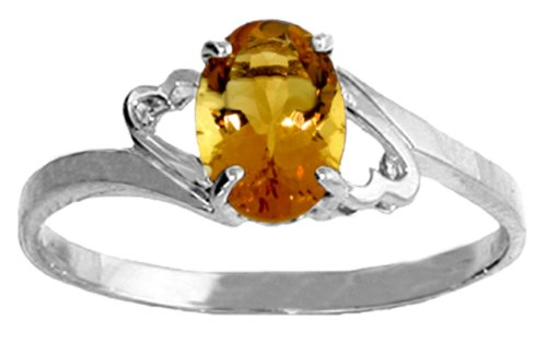 .925 Sterling Silver Promise Ring with Genuine Oval Citrine